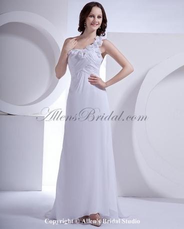 9066682a3a Chiffon One-Shoulder Sweep Train A-Line Wedding Dress Discerning brides ...